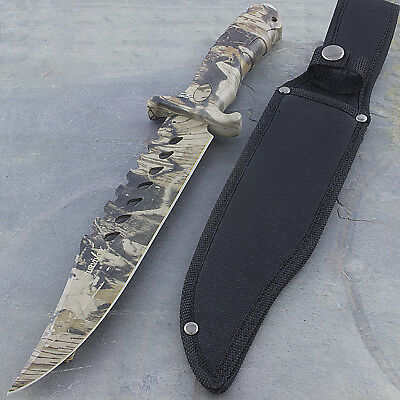 "13"" CAMO TACTICAL COMBAT BOWIE HUNTING KNIFE Survival Military Fixed Blade 2"