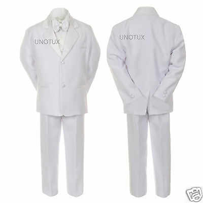 Boys Toddler Teen  Baptism Communion Christening Formal White Suit Stole Sm-20