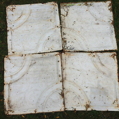"Antique Shabby Chic 10 tiles 24"" Tin Ceiling Tile Panel Vtg White Metal 2' x 2'"