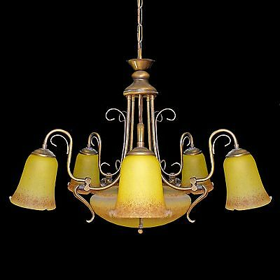 Antique French Degué Style Art Deco/Nouveau Yellow Large Art-Glass Chandelier 3