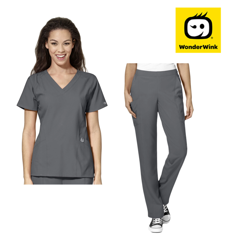 Womens Scrub Set - Premium Stretch Fabric Top and Pants Nurse Medical Uniform 3