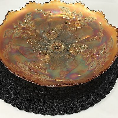 """Stag and Holly FENTON Ice Cream Shape ICS Footed Bowl 10 1/4"""" Marigold Carnival 7"""