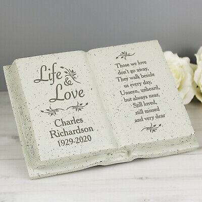 Personalised Memorial Book / Bible Plaque Garden Grave Ornament Cross Rose 10