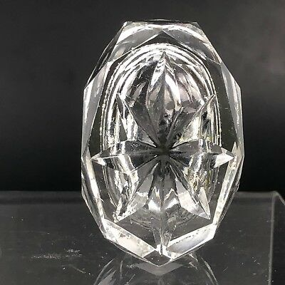 VTG Antique Open Salt Cellar Clear Crystal Glass Cut Open Dish Faceted Diamond 5