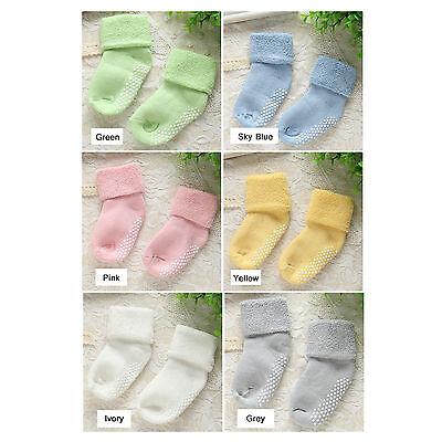 6 prs Unisex Thick Cotton Baby Toddler Girl Boy Anti-Slip Socks Shoes Slipper