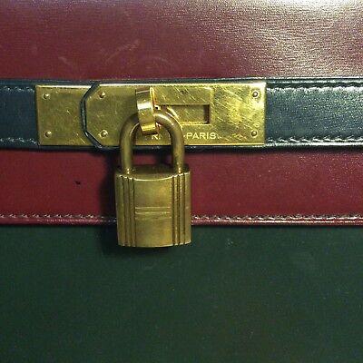 VINTAGE HERMES KELLY Bag 32 Box Leather Tricolor Navy Green