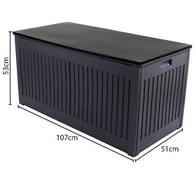 270L Grey Garden Storage Box Outdoor Plastic Utility Cabinet Shed Chest Cushion 12