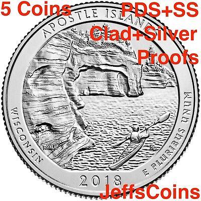 2018 PDSSS Voyageurs National Park MN +Clad&Silver Proof 5 Quarter P D S S S ATB 2
