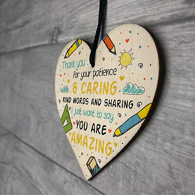 Gift For Teacher And Assistant Wooden Heart Nursery Thank You Gifts Leaving Gift 7