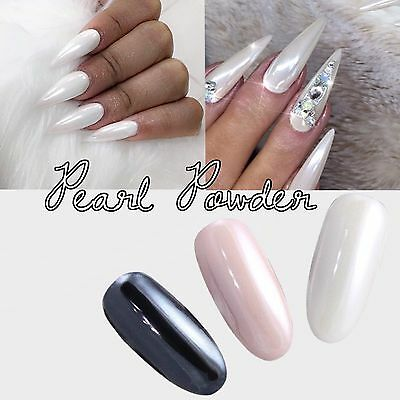b1a518408c45 ... WHITE CHROME POWDER Matte Pigment Pearl Nails Nail Art Crystal Shiny  Dust M4 3
