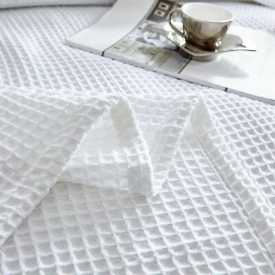 New Premium 100% Cotton 350gsm Large Waffle Blanket Bedspread Bed Throw Rug 4