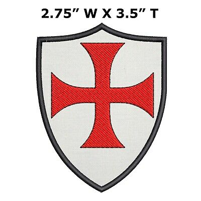 """Templar Shield 3/"""" W x 4/"""" T Embroidered Iron Sew-on Patch Crest Gear Applique"""