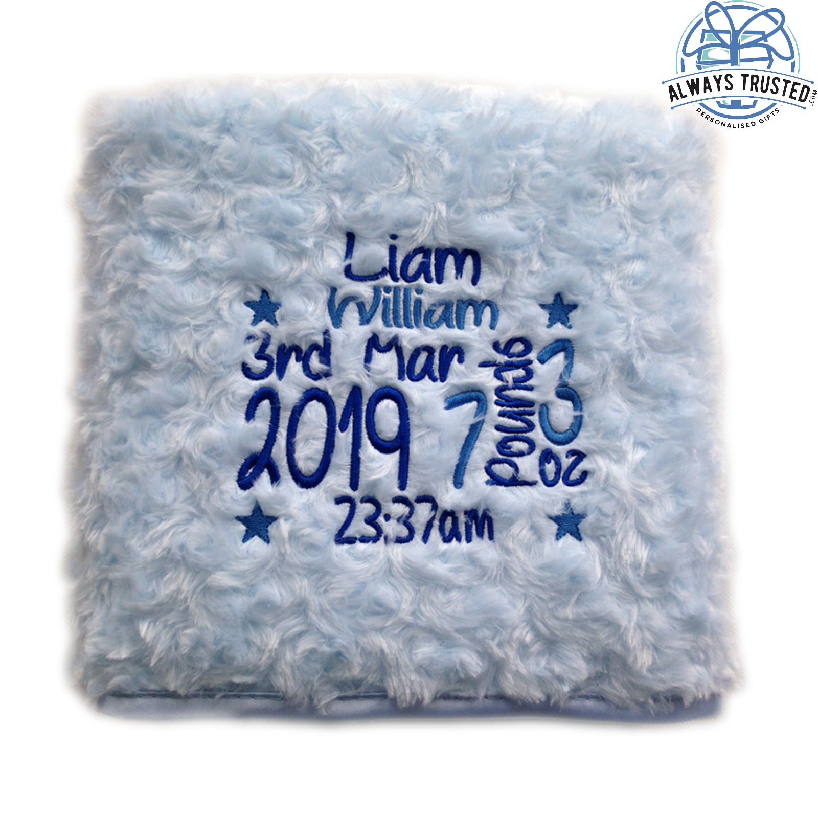 Personalised Baby Blanket Embroidered Soft Fluffy Gift 3
