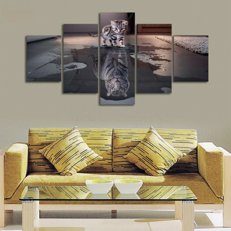 5 Panels Unframed Modern Canvas Art Oil Painting Picture Room Wall Hanging Decor 12