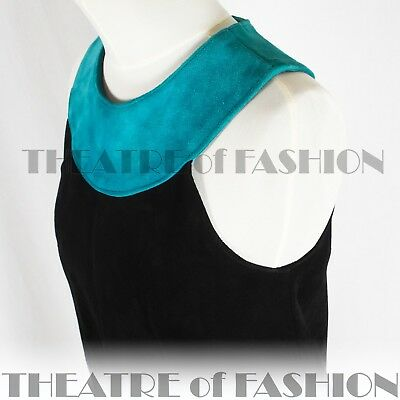 DRESS 60s SUEDE LEATHER VINTAGE OUTSTANDING ART ICONIC RARE LIKE COURRÈGES GOGO 4