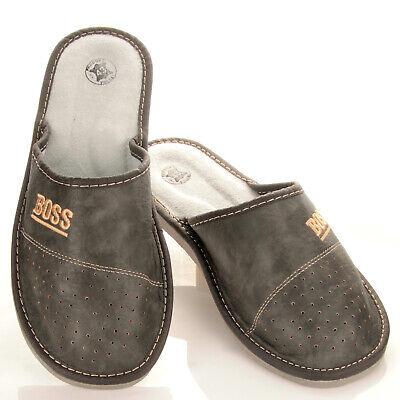 """Herren """"BOSS"""" Hausschuhe aus LEDER Pantoffeln Latschen Pantoletten Gr. 32-50 NEU 8"""
