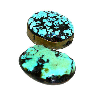 (2557) Antique Pair of Tibetan Turquoises Set in Silver and Copper 3