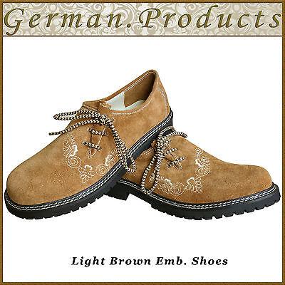 German Bavarian Trachten Oktoberfest Lederhosen Mens Suede Leather Emb Shoes Gp1