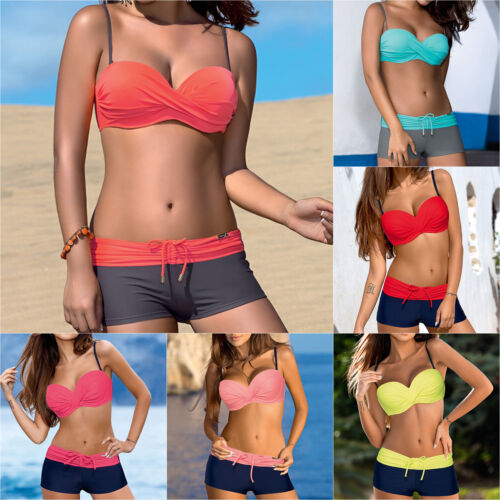 1cef48e7490cc Women Push Up Bikini Set Padded Boy Shorts Boxers Swimwear Swimsuit Bathing  Suit 3 3 of 6 ...
