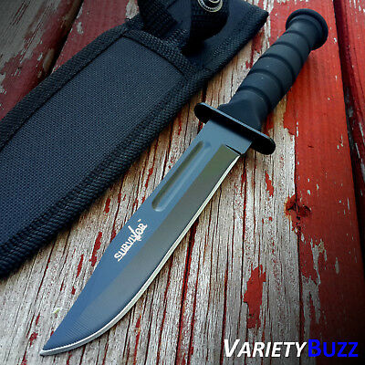 """7.5"""" MILITARY TACTICAL COMBAT KNIFE w/ SHEATH Survival HUNTING Bowie Fixed Blade 3"""