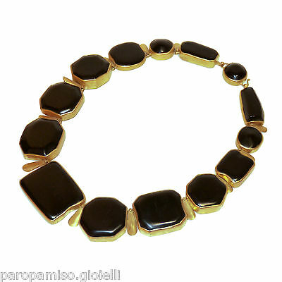 18k Gold Necklace Mounting Antique Jet (Fossilized Wood) 18 century.   (0590) 3
