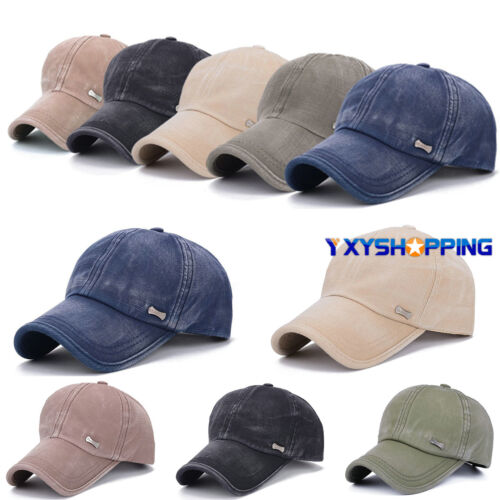 Unisex Retro Men Plain Classic Baseball Caps Peaked Stonewash Casual Sports Hats 2