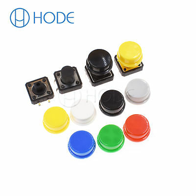 Momentary Tactile Push Button Touch Micro Switch 4P PCB Caps 12x12x7.3mm-12mm UK 2