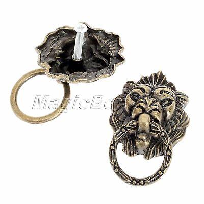6x Vintage Brass Lion Head Drawer Cupboard Cabinet Dresser Ring Pull Handle Knob 5