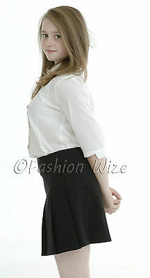Girls Womens Pleated School Skirt Drop Waist Grey Black Navy Ages 5-16 Size 6-24 10