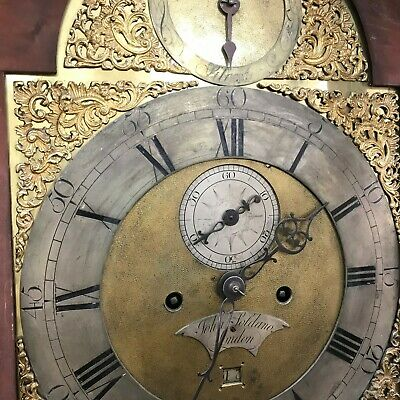 London long cased 8 day brass dial flamed mahogany cased 6