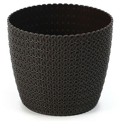 Plant pot cover indoor plastic rattan flower cover round modern decor planter 8