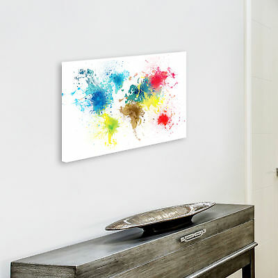 ZAB1584 Colourful World Map Modern Canvas Abstract Home Wall Art Picture Prints 4