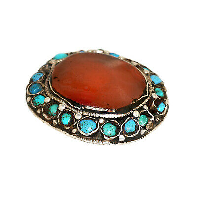 (2561)Antique Element of head decoration.Tibet / China Turquoise and carnelian. 3