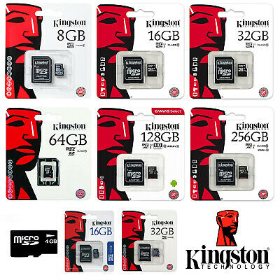 Kingston SDCS 4GB 8GB 16GB 32GB 64GB 128GB 256GB Micro SD HD Speicher Class 10 4