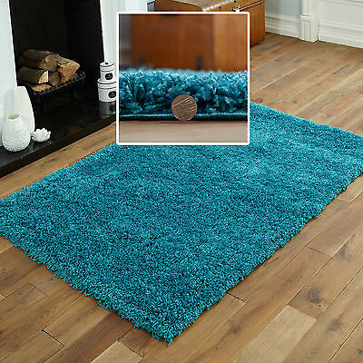 Shaggy Small Extra Large Plain Turquoise Blue Rugs Thick 5Cm Pile Modern Rugs 2