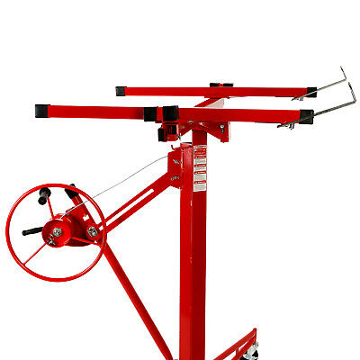 NEW 11' Drywall Lifter Panel Hoist Jack Rolling Caster Construction Lockable Red 6