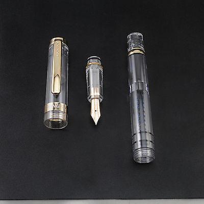 2017 Wing Sung 698 Piston 14K Gold Pen Transparent Golden Clip Fine Nib No Box
