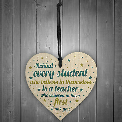 Gift For Teacher And Assistant Wood Heart Plaque Thank You Gifts Leaving School 2