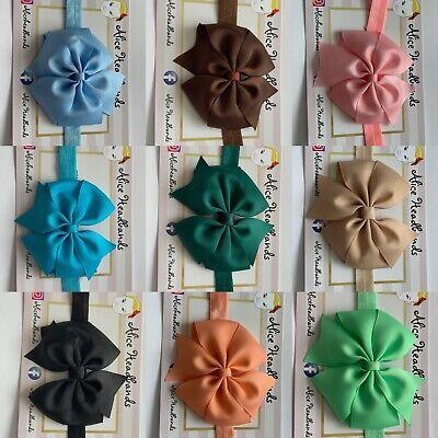Baby Headbands Girls Hair bands Newborn 9 CM Bow Toddler UK Handmade Seller+ Lot 2