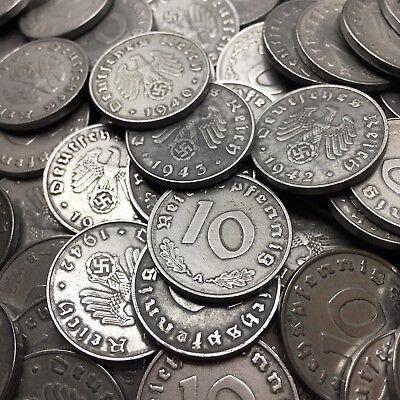 Rare WW2 Nazi Germany 3rd Reich 10 Reichspfennig Swastika Coin Buy 3 Get 1 Free 8
