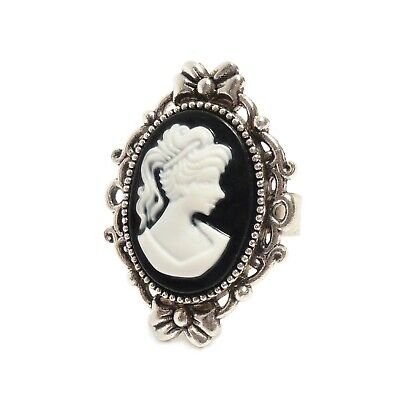 Victorian Gothic Black and White Cameo ring, silver steampunk wedding goth 2