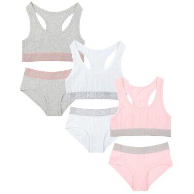 Young Girls Cotton Crop Top & Brief Underwear 2 Piece Set Size Age 7 to 13 2