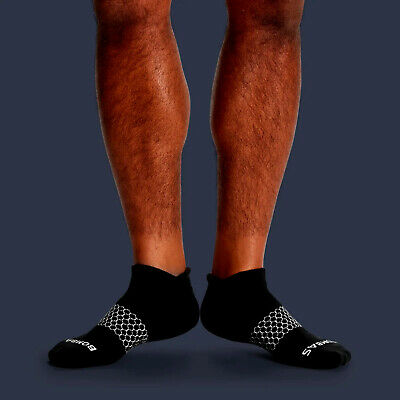 3-Pack Bombas Men's Ankle Socks Black Honeycomb Large 7-12 NWT 2