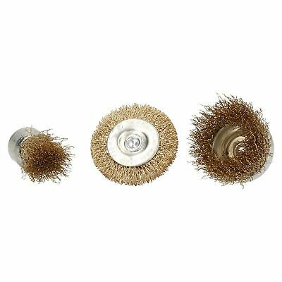 3pc Rotary Brass Coated Steel Wire Brush Set Metal Polishing Cup Wheel Flat 2