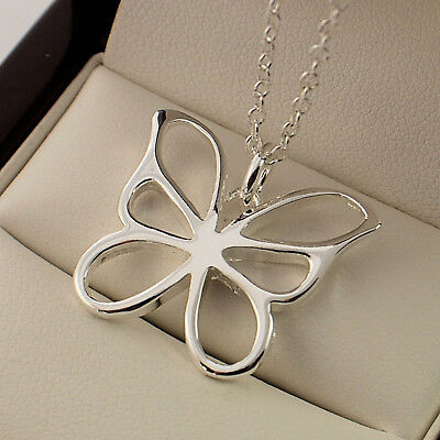 "Stamped 925 Sterling Silver Plt Butterfly Pendant 18"" Necklace Chain -144 4"
