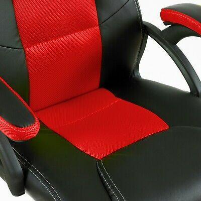 Swivel PU Leather Mesh Office Racing Sport Gaming Style Tilt Computer Desk Chair 2