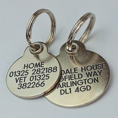 Deluxe ENGRAVED tags for Pets Brass or Nicron 2 sizes 4