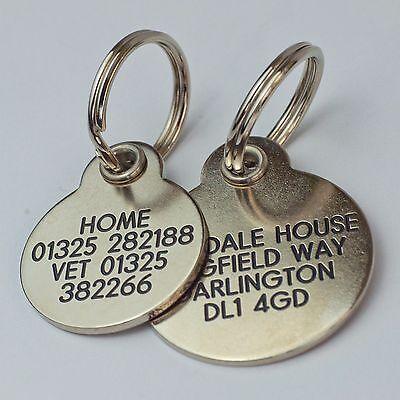 Deluxe gravé étiquettes pour animaux Laiton ou Argent métallique 2 tailles 4