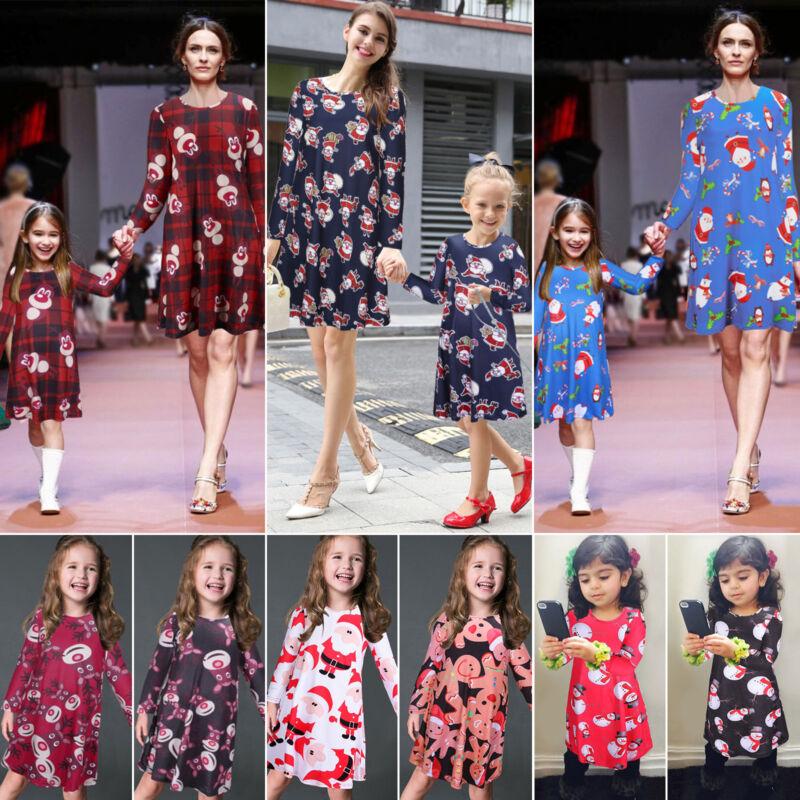 Mutter Tochter Partnerlook Kleid Damen Mädchen Xmas Rentier Langarm Partykleid