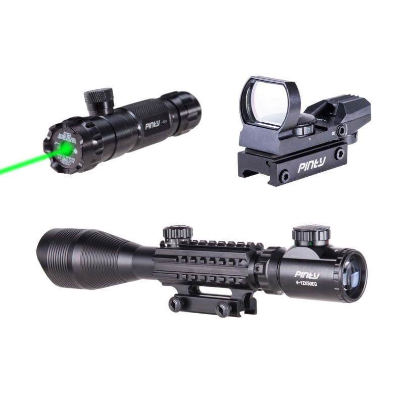 Pinty 4-12X50 Tactical Rangefinder Reticle Rifle Scope Green Laser & Dot Sight 2